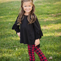 Girls Red Plaid Flare Pants