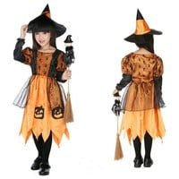 CRAZY POMELO Fairy Tales Little Witch Magic Pumpkin Party Dress Costume