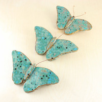Ceramic Butterflies - Three Bright Butterflies - Ceramic Wall Art