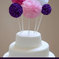 Pom cake topper tissue paper pom poms  // diy wedding //  birthday cake topper // shower cake topper