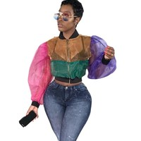 Women Fashion Sexy Transparent Mesh Color Patchwork Long Sleeve Zip Up Crop Top