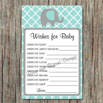 Instant Download Baby Shower Game Wishes for Baby Shower Advice Game Dear Baby Printable Game Light Teal Grey Boy diy Shower 046