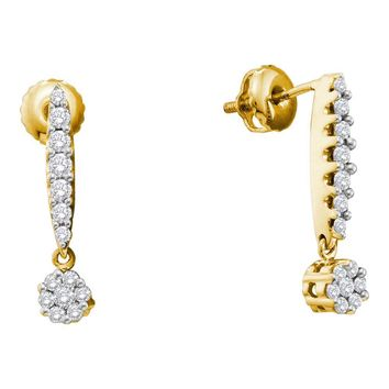 14kt Yellow Gold Womens Round Diamond Flower Cluster Screwback Dangle Earrings 1/2 Cttw