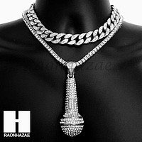 Hip Hop Iced Out Silver Microphone Miami Cuban Choker Tennis Chain Necklace DS