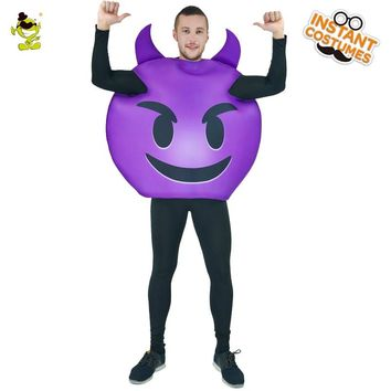 Funny Emoji Devil Jumpsuit Costumes Adult Mens Purple Demon Halloween Party Performance Costumes Cosplay Jumpsuit