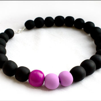 Necklace Violet round beads EXCLUSIVE COLLECTION Polymer clay matte black beads shiny violet bead eyecatcher