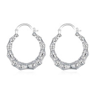 silver plated earrings Hollow Round Bamboo hoop pendientes bear bijouterie MP