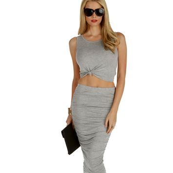 Gray All I Need Crop Top