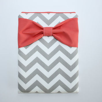 MacBook Pro / Air Case, Laptop Sleeve - Gray and White Chevron Coral Bow - Double Padded - Sized to Fit Any Brand