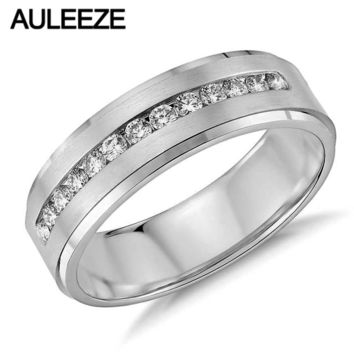 Men's 14KT White Gold Wedding Lab Grown Diamond Channel