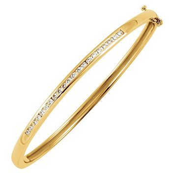14k Yellow Gold & 5/8 Ctw Diamond 3mm Hinged Bangle Bracelet