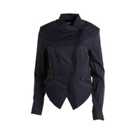 T Tahari Womens Orianna Asymmetric Long Sleeves Motorcycle Jacket