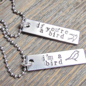 Set of 2 Necklaces If You're A Bird I'm A Bird Hand Stamped Jewelry Friends Charm Aluminum Tag Stainless Steel Chain Horseshoe