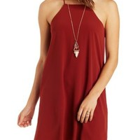Cognac Strappy Racer Front Shift Dress by Charlotte Russe