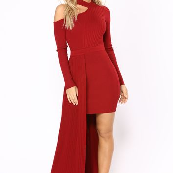 Ready To Wear Knit Dress - Burgundy