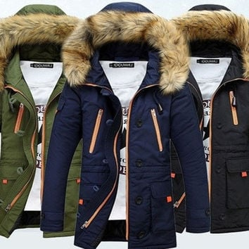 Men'S Thickening Casual Warm Raccoon Nagymaros Collar Duck Down Jacket Winter Hooded Down Coat Parkas [9221912708]