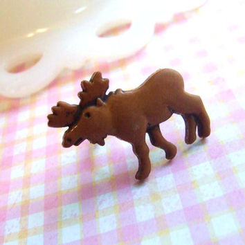 Brown Moose Adjustable Ring - We Like to Moose it Moose it - Giant Elk - Rustic Whimsical Wild Animal Ring