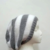 Gray slouchy beanie hat with white stripes handmade for men or women 4848