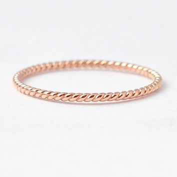Rose Gold Rings 14K Wedding Jewelry Braided Rope Twist Good Christmas Present Ideas