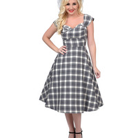 Stop Staring! 1950s Style Grey Plaid Dorothy Swing Dress