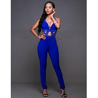Women Jumpsuits Playsuits Sexy Club Overalls Bodysuits Rompers Pants V-neck Sleeveless Long Rompers Hipster Jumpsuit