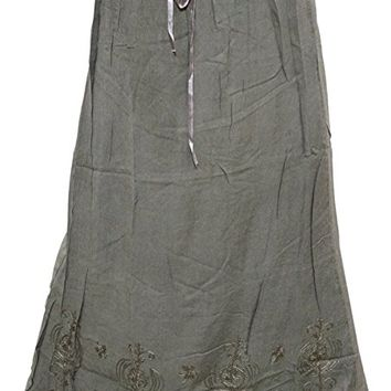 Mogul Women's Skirt Green Stonewashed Embroidered Bohemian A line Skirts XS