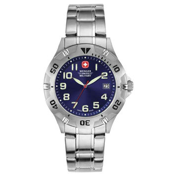 Wenger 72947 Men's Military Brigade Blue Sunray Dial Stainless Steel Watch