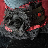 Sexy Valentines Slave Collar choker in Blood Red Burgundy Satin, Black Leather /Lace Vampire Chic Goth Romance Victorian very discrete bdsm
