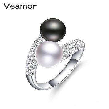 AAAA High Quality Pearl Rings Fashion Luxury Women Engagement Jewelry 925 sterling Silver Rings Female Wedding Pearl Jewelry