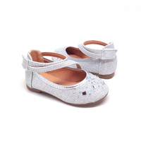Silver Toddler Flats with Rhinestones and Hook and Loop Strap