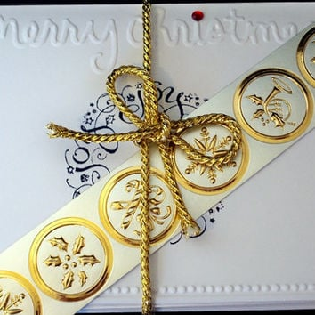 Christmas Card Set and Gold Foil Seals - Embossed Cards - Handstamped Cards ( Set of 8 ) Glitter Gift Bag