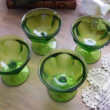 Green Glass Sherbet Dishes Set of 4
