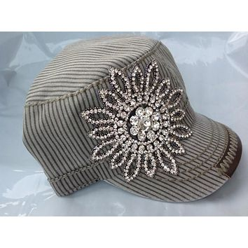 Gray Striped Cadet Hat with Rhinestone Flower