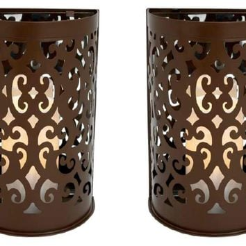 Brown Etched Metal Indoor/Outdoor Wall Sconce Lanterns with Flameless Candle (Set of 2)