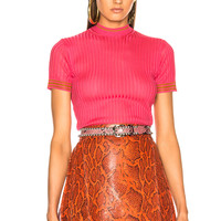 Acne Studios Sisian Top in Fuchsia Pink & Tobacco Stripe | FWRD