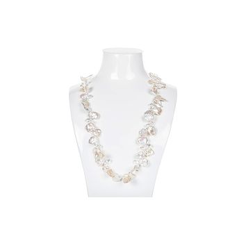 White Freshwater Keshi Pearl and Crystal Long Necklace