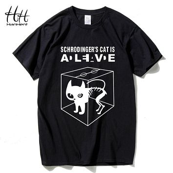 HanHent Schrodinger's Cat Men T-shirt The Big Bang Theory T shirts Man's Swag Cotton Short Sleeve Funny Top Summer Style Tshirts