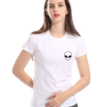 Women's T-shirt Alien Pocket Print Cotton Funny Casual Hipster Shirt For Lady 2018 Summer New T-shirts For Women Top Female Tees