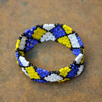 Elastic Bracelet (African, traditional, Checkered pattern)