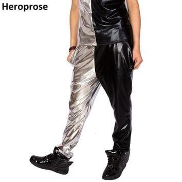 2017 New Fashion Black Silver Bronzing Patchwork Multi-pockets Hip Hop Jazz  Stage Show Clothing Personality Dance Harem Pants