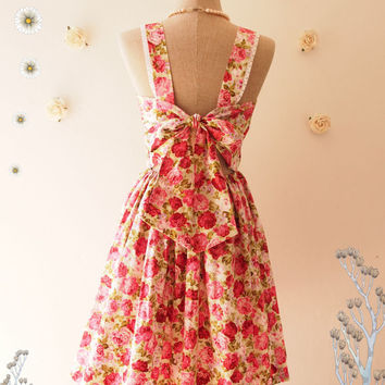 Fairy Wings Floral Summer Dress Vintage Style Backless Bow Dress Floral Bridesmaid Dress Light Green Pink Rose Party Dress-Size XS-XL,Custom