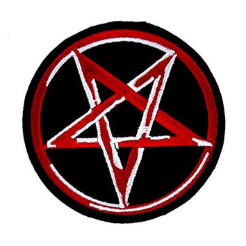 Pentagram Iron On Patch Red & White Applique
