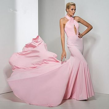 2016 Pink Chiffon Mermaid Prom Dresses Halter Low Back Court Train Bodice High Quality Vestidos Women Special Occasion Gown 2016