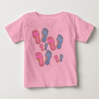 GIRL BOY FOOTPRINTS TOP TEE SHIRT