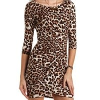 Leopard Print Ruched Bodycon Dress by Charlotte Russe - Brown Combo