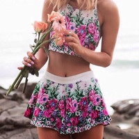 Print Sexy Sling Shirt Two-Piece