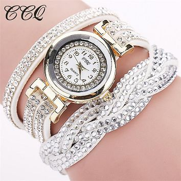 Fashion Casual Quartz Women Rhinestone Watch Braided Bracelet