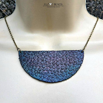 Leather half circle hand embossed and painted leather bib necklace//leather necklaces//blue and purple leather jewelry//brass//layering
