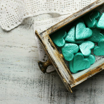 Boho wedding favors mint heart magnets cottage chic guest favors shabby chic bridal shower bohemian wedding, rustic wedding