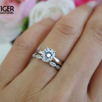 SALE 1 Carat Art Deco Round Solitaire Wedding Set 8116e9ca62c9